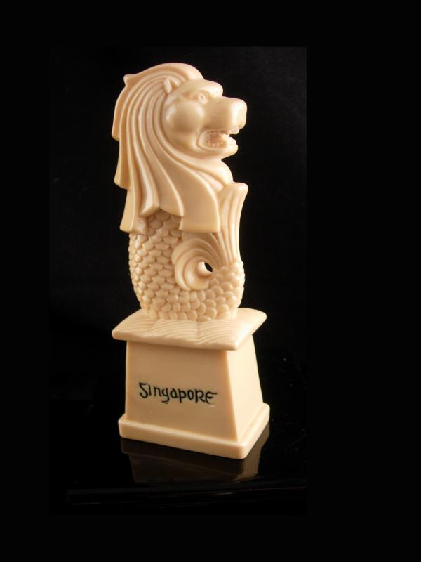 Carved Lion Fish statue - vintage mythical protectors - Japanese guardian lion - Gift for dad - singapore fish