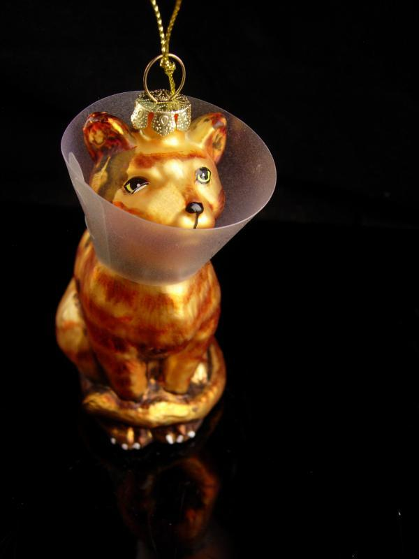 Get Well Cat ornament - Boo boo Kitty - kitty hooded - veterinarian gift - cat with cone - signed gold glass cat