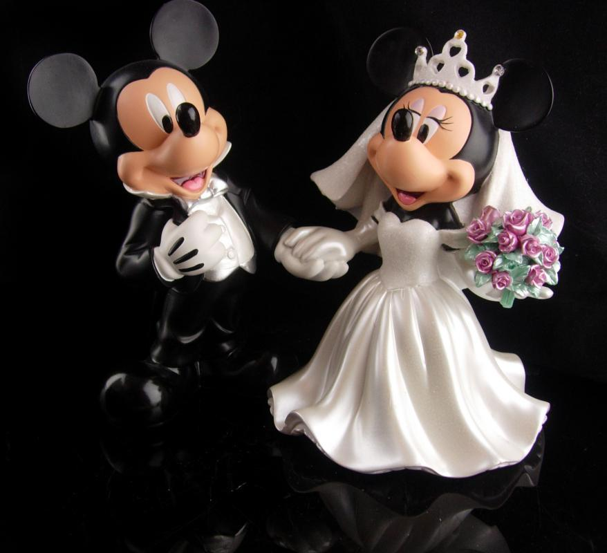 Large Wedding statue - mickey and minnie mouse cake topper - mouse figurine - Bride groom gift