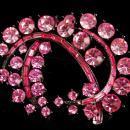Large Pink Rhinestone Brooch - Sparkling spray lapel pin -- pink statement pin - 3
