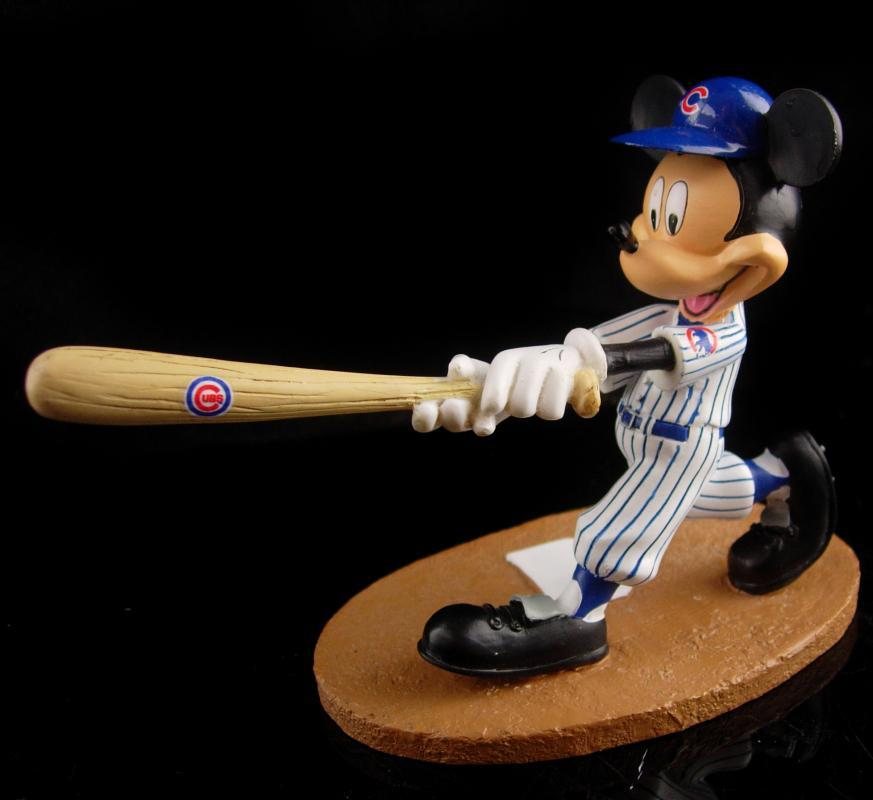 Vintage Mickey Baseball statue - cubs mouse figurine - Coach gift - Chicago uniform - Batter gift  - graduation gift -  sports gift