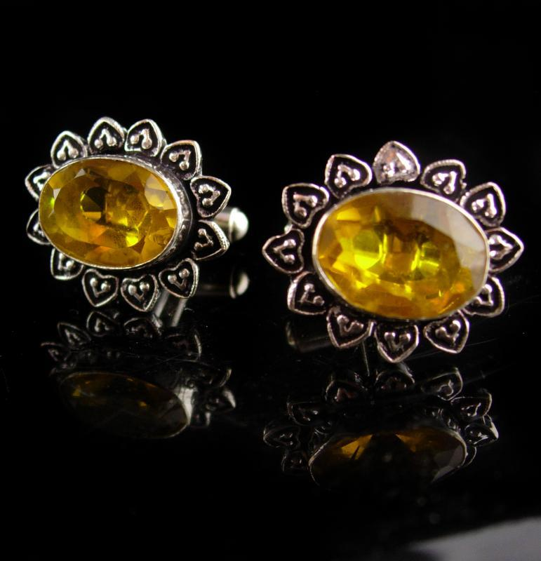 ornate Sterling Citrine Cufflinks - yellow wedding groom gift - estate mens jewelry - gift for dad