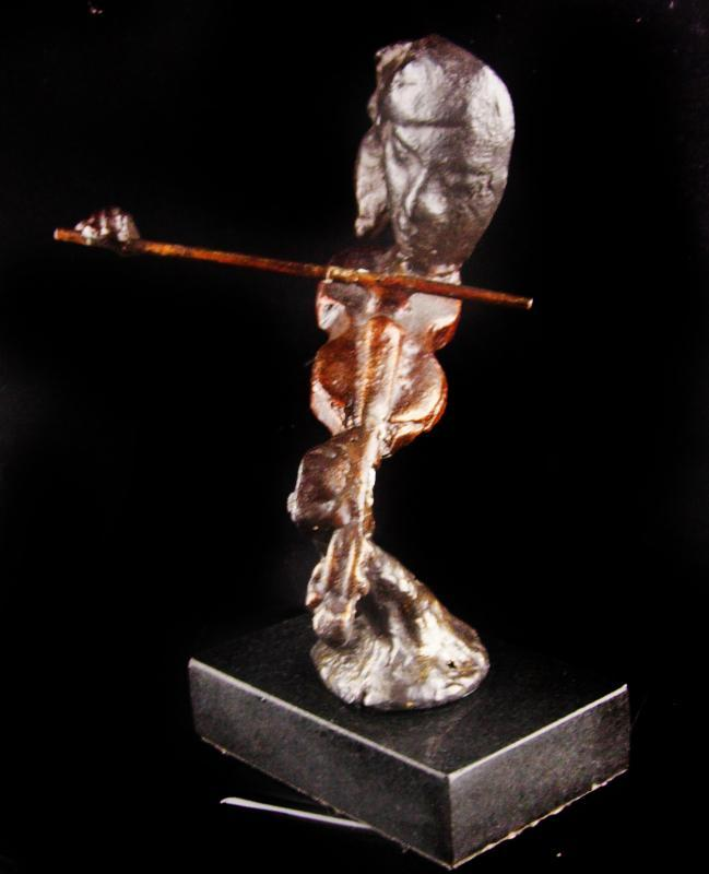 Bronze Brutalist woman with violin statue -  Musician Song Writer Gift - orchestra violinist sculpture - Abstract Musical gift