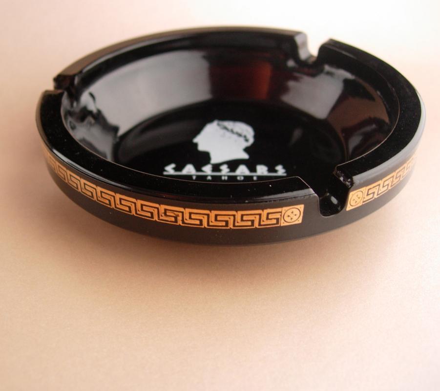 2 Caesars Palace Vegas Ashtrays - Vintage casino black greek key glass tray - Gambling showgirls - gambler gift