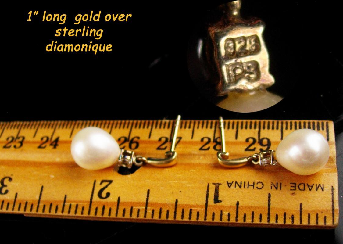 Pearl drop Diamonique earrings - gold over sterling - Vintage teardrop jewelry - wedding jewelry - signed set