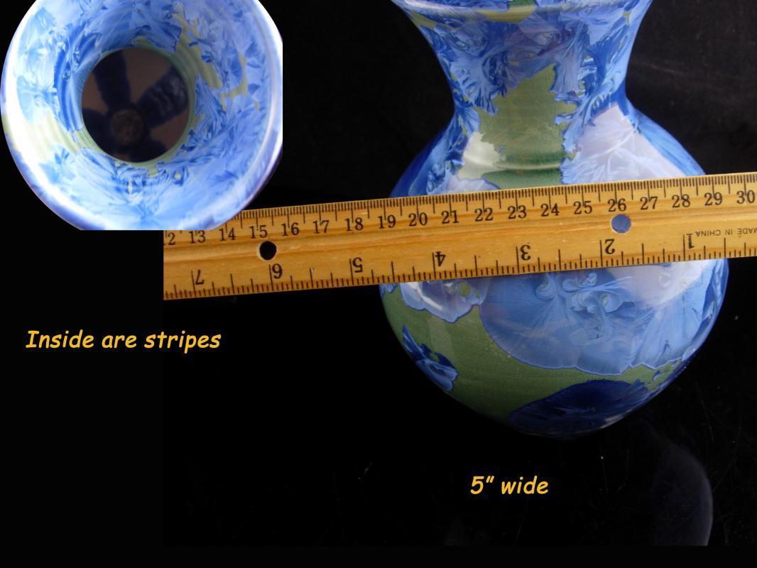 Vintage Phil Morgan Pottery - rare blue crystalline vase - signed ceramics - Seagrove NC - art pottery -