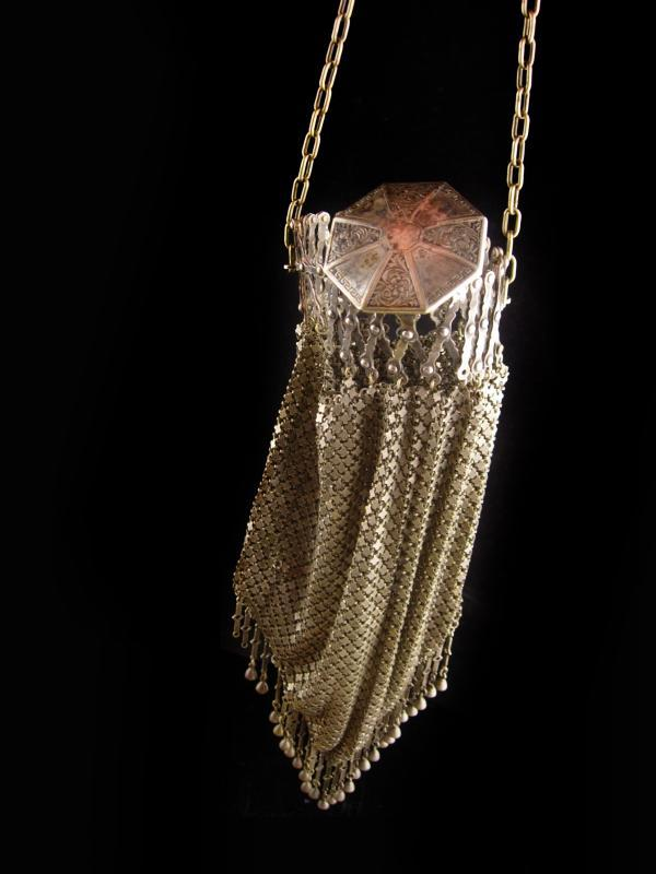 Antique 1800's coin pouch / greek Medallion / expandable fringe mesh purse / gate top mesh Victorian handbag - vintage coin purse /