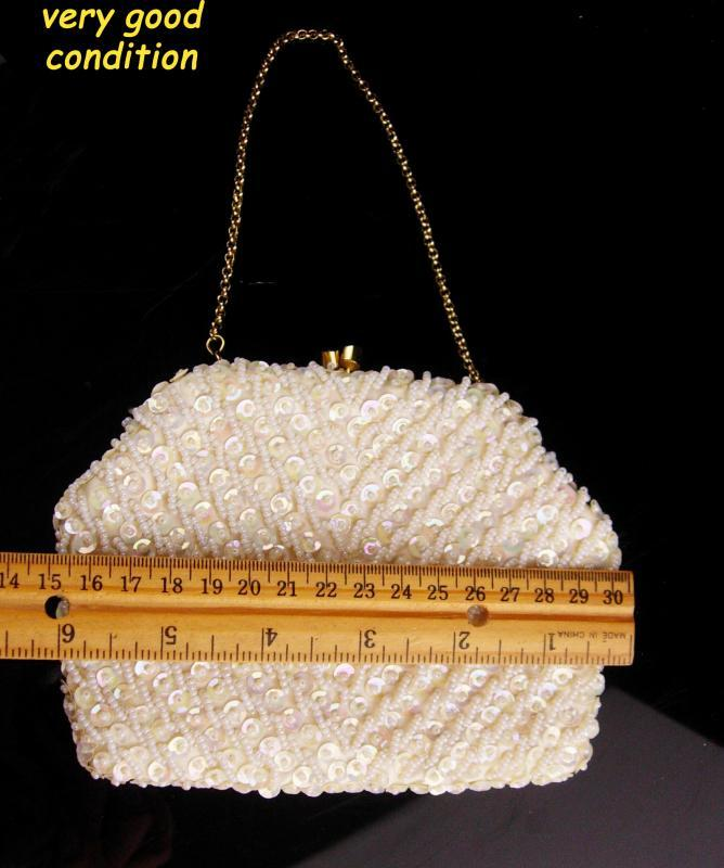 Vintage sequin purse /  iridescent sequins and pearl beads - Made in Hong Kong - evening bag - off white clutch purse with chain