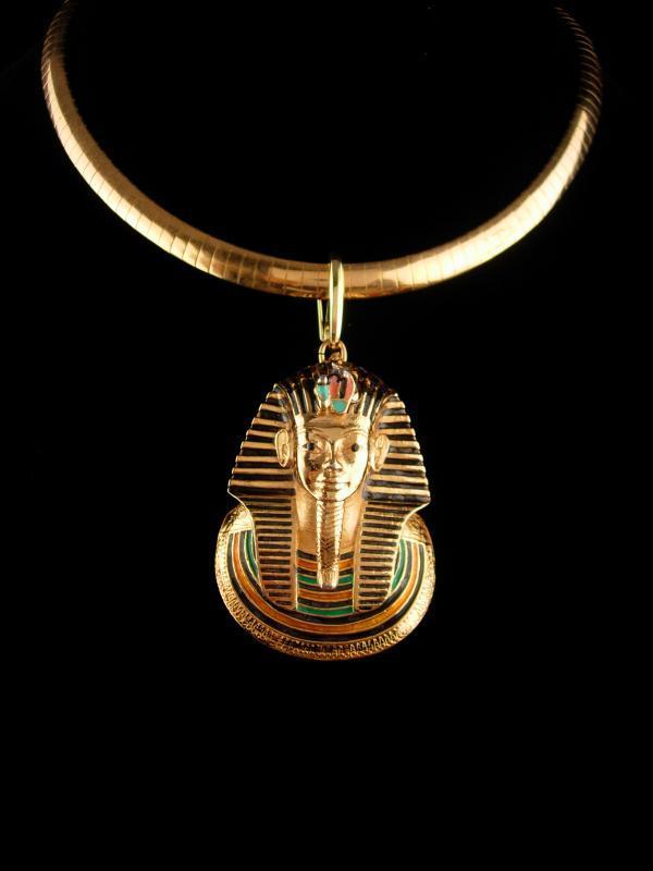 Vintage KING TUT necklace - Large Eisenberg pendant - egyptian collar - enamel Pharaoh - couture jewelry - snake chain