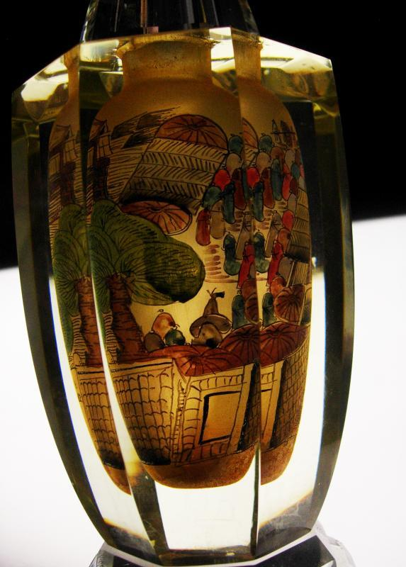 Gorgeous Reverse painted oriental vase - Jacarte Crystal vase - Chinese painting - hand made optical sculpture - anniversary wedding gift