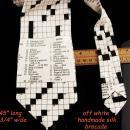 Mens Crossword tie - handmade silk brocade - wedding groomsman - father of the bride gift - 45