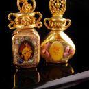 2 antique gold enamel perfumes - miniature scent perfume bottle -- vanity accessory - victorian portrait bottle - 24kt gold enamel