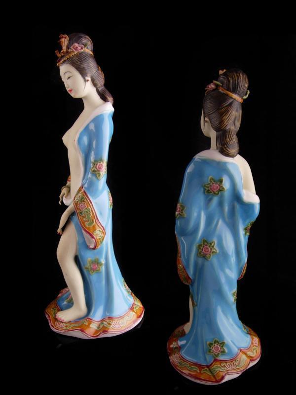 Vintage large nude Geisha statue - signed handpainted porcelain - erotic asian figurine - artist signed - Japanese geisha - Oriental Asian