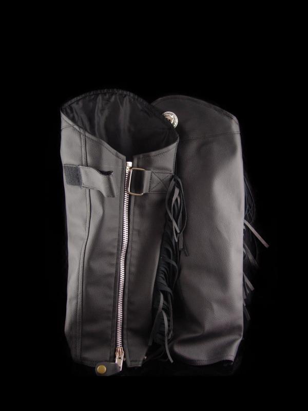 Sturgis Leather biker half chaps - fringe zipper leg protectors - size M - black Genuine leather - equestrian chaps - silver conchos
