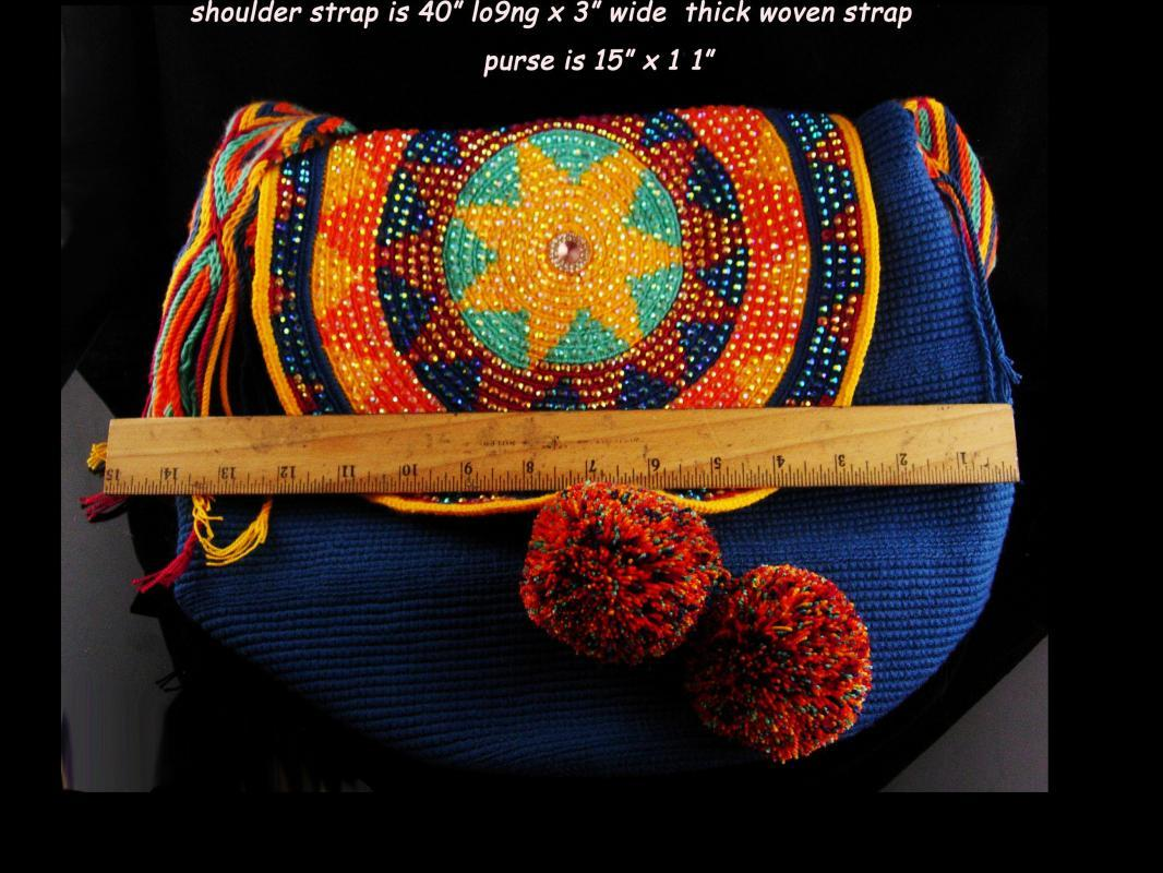 Vintage rhinestone star hippie Purse / bohemian woven handbag - Colorful gypsy purse - pompom shoulder bag - handmade tote - star medallion