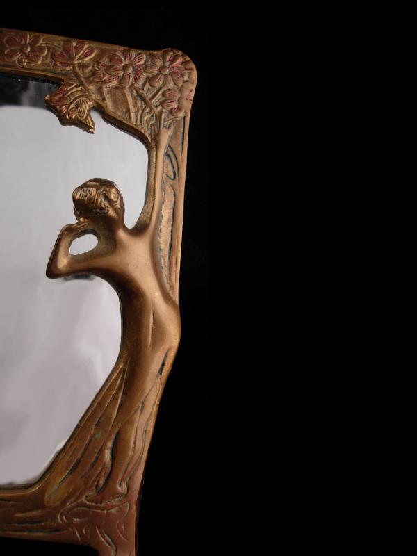 art nouveau vanity Mirror / vintage metal vanity mirror / Photo frame /  gold vanity accessory