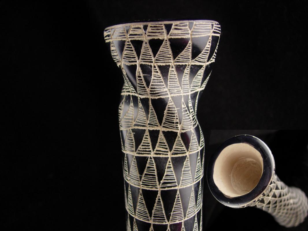 Vintage twisted geometric carved vase - unusual signed pottery - etched signed vase - black white vase