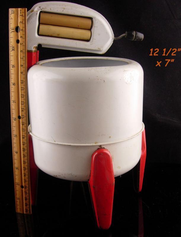 Vintage Washing Machine - Tin Toy Wringer washer - red white machine - Wolverine brand