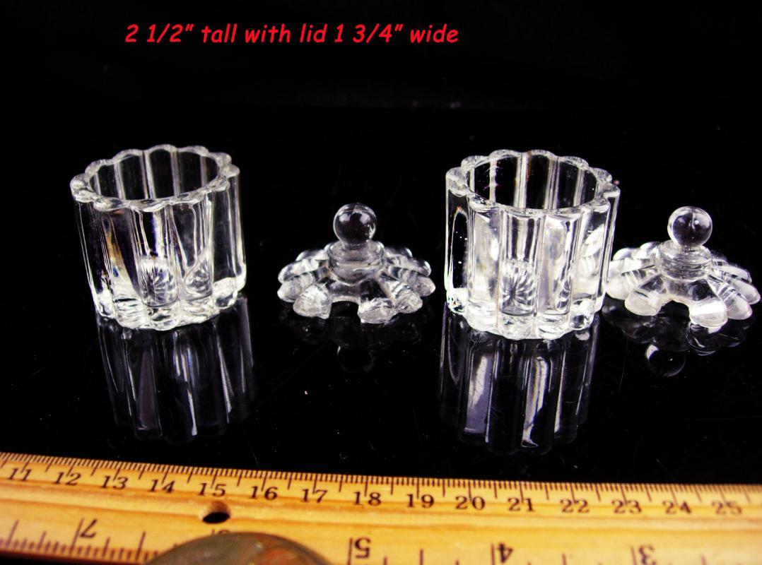 Antique glass salt cellars with lids - Victorian Salts - matching set - ribbed glass
