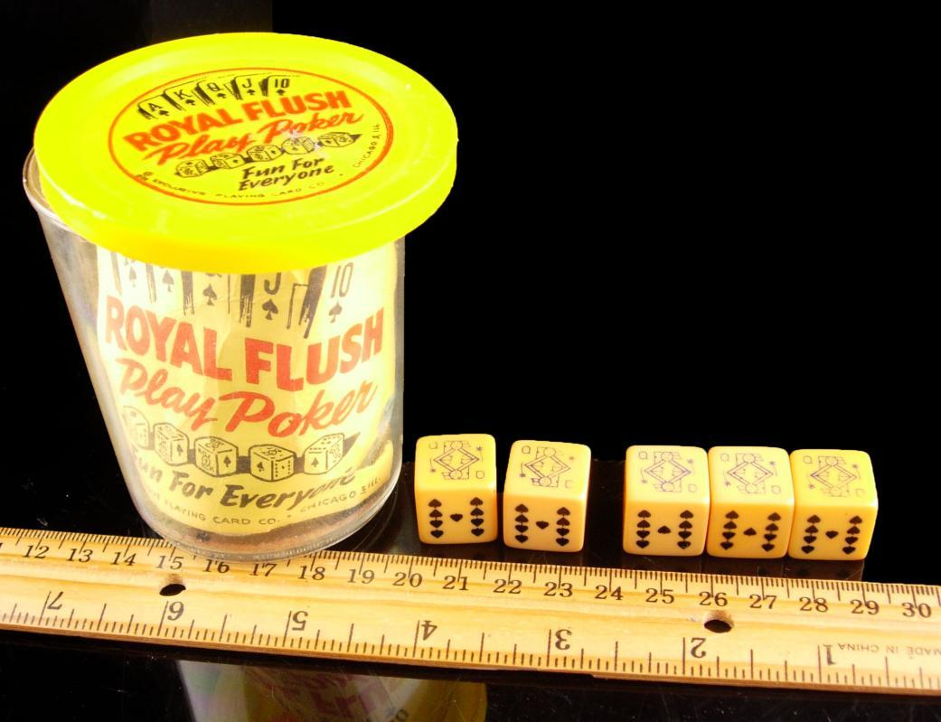 1950s Poker Dice cup set  - Vintage High Roller chips - Royal flush - portable Casino Gamblers gift - Gambling dice