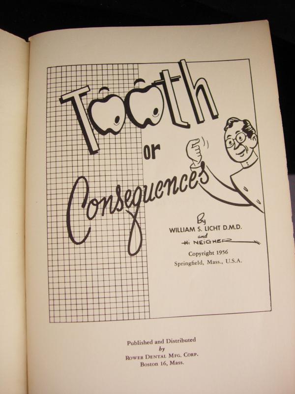 Vintage dentist book - tooth or consequence - dentist gift - Dental medical school graduation gift - dental cartoons rower dental