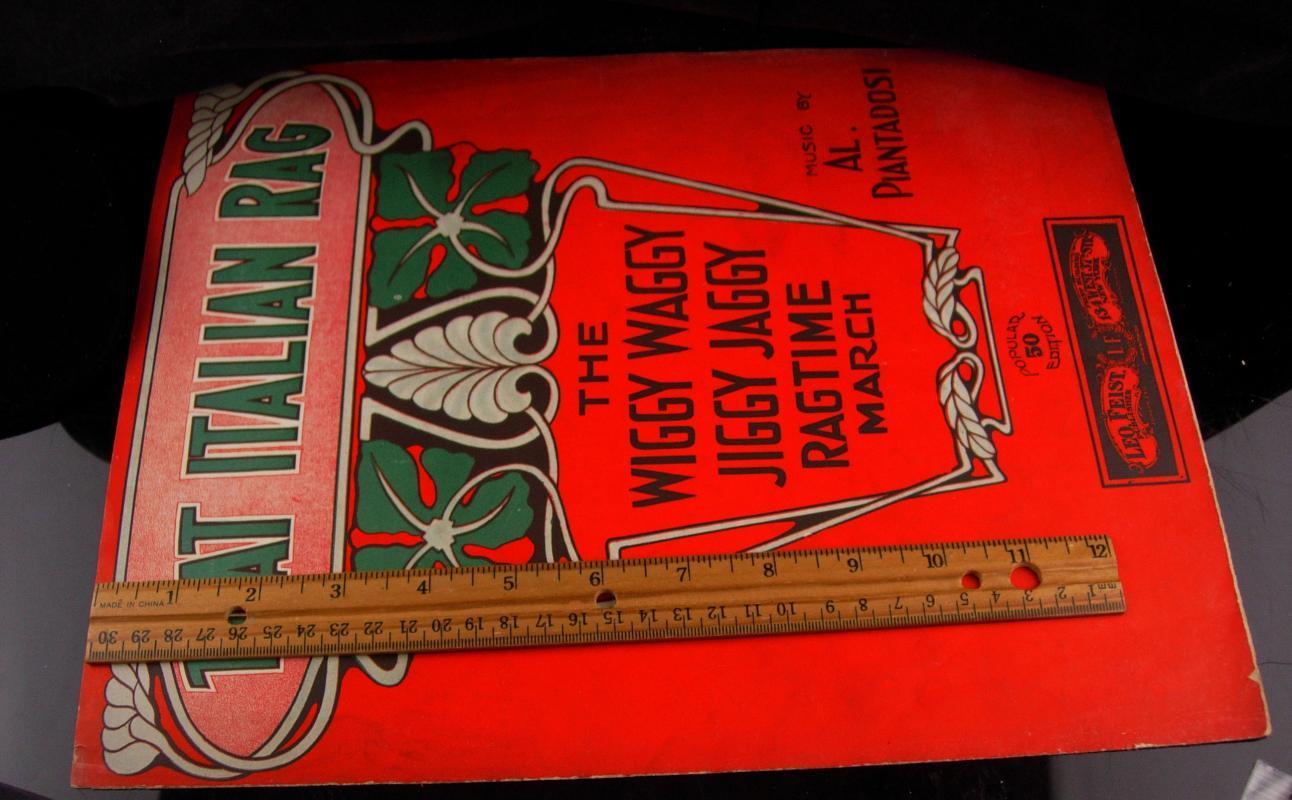 1910 Italian Rag Sheet Music - antique musical ragtime - Italian wedding gift - wiggy waggy - gift for mom