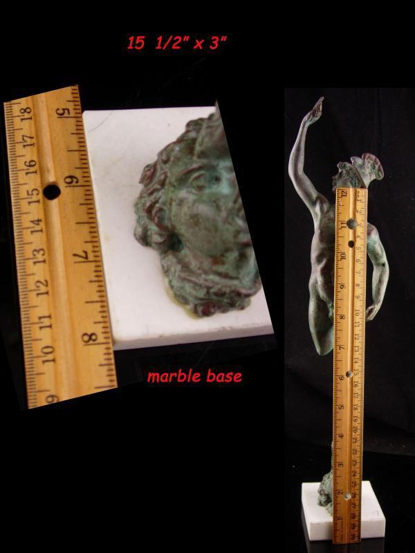 Antique nude winged statue - Hermes and Aeolus God of wind - Vintage Mythology statue on marble