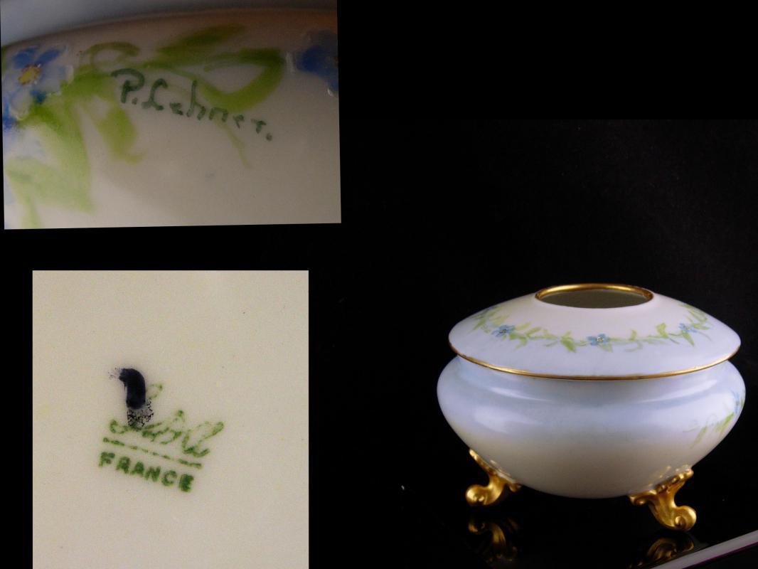 Signed Vintage French Hair receiver - porcelain footed with lid - flower casket - Victorian vanity box -  dresser jar