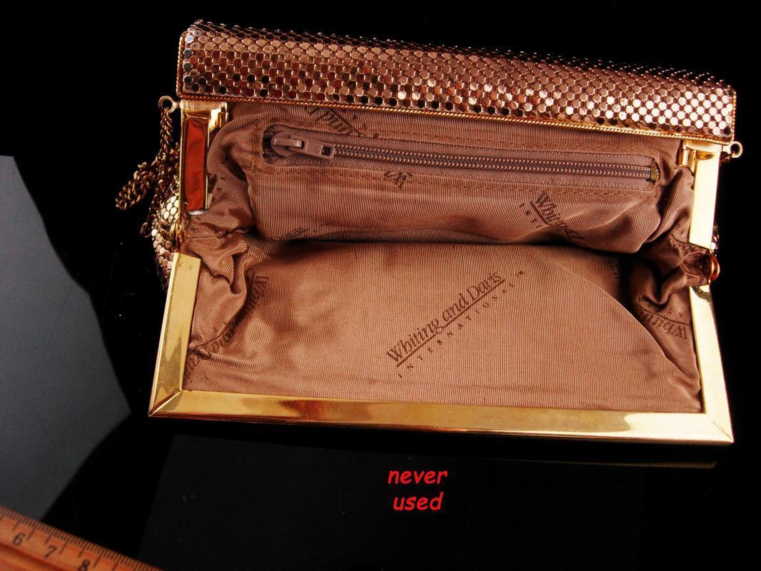 Gold Flapper purse / vintage Whiting & Davis international mesh purse / gold shoulder bag clutch never worn