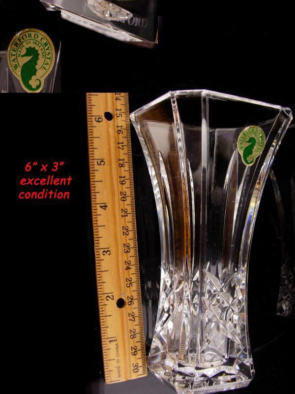 Vintage crystal Waterford vase - original sticker - Irish crystal - wedding anniversary gift - gardener gift - ruffled top - housewarming