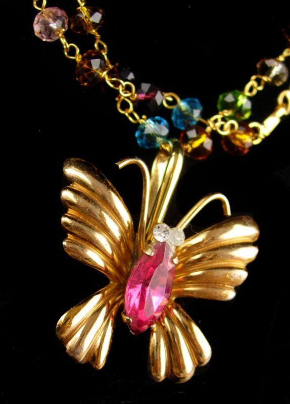 Vintage Coro butterfly brooch necklace - pink insect pin - brooch  converter / insect bug / figural pin / golden costume jewelry