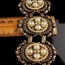 LARGE Baroque pearl bracelet - vintage big fleur de lis link 7 1/2