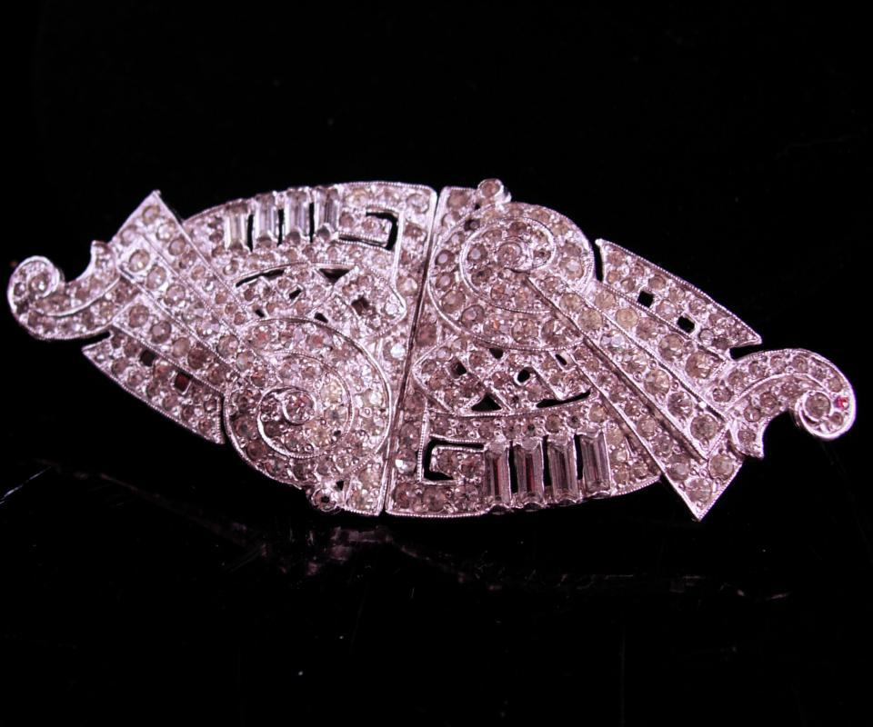 Vintage fancy rhinestone duette dress clip - silver fur clip brooch set - dress clips - clear rhinestones - rhodium plated art deco jewelry
