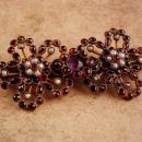Antique Georgian bohemian Garnet brooch - Victorian seed pearl amethyst - January birthstone - Capricorn Aquarius 15th 40th 45th anniversary