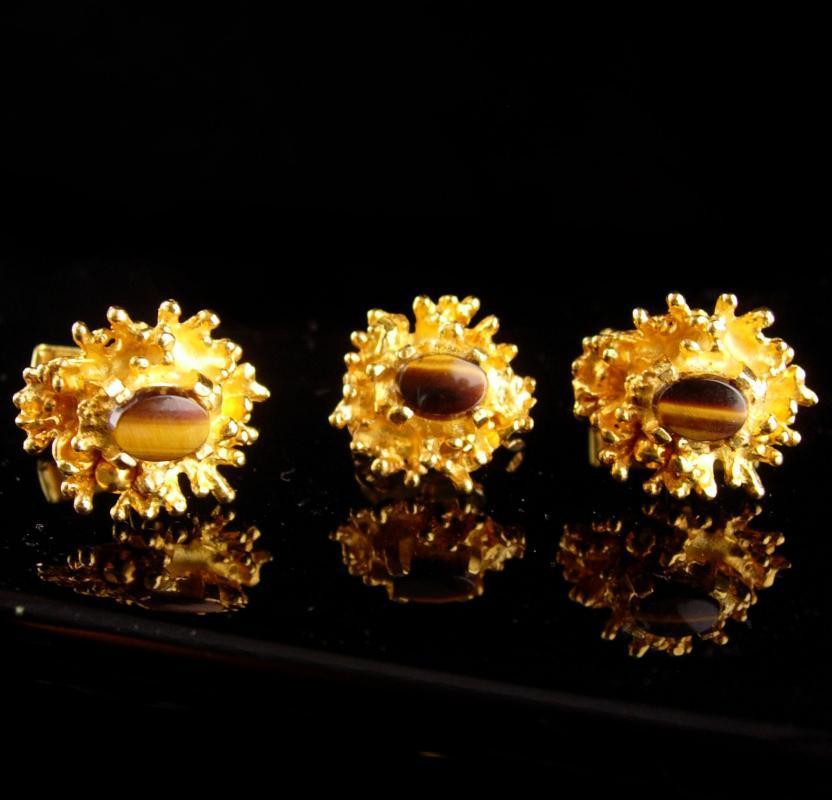 Golden nugget TIGER EYE Cufflinks - Vintage Gemstone Cuff Accessory - tigereye catseye cuff links
