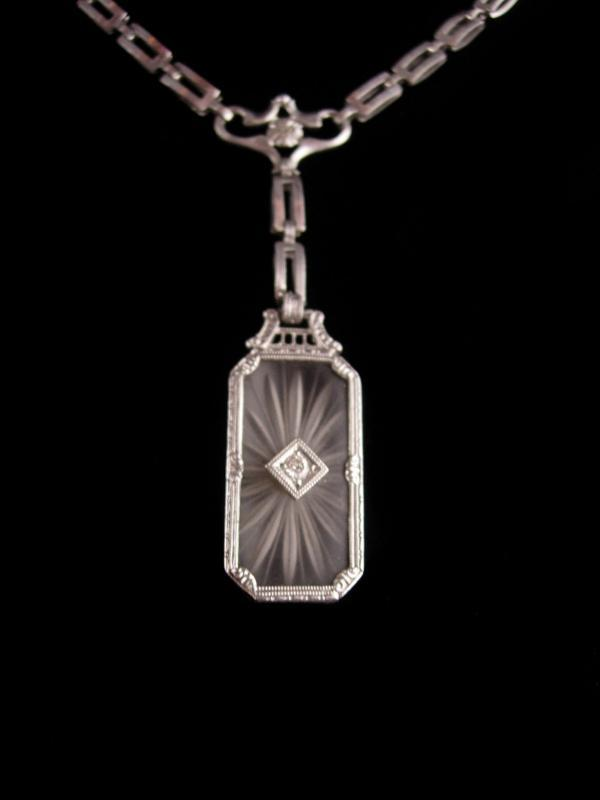 14kt white gold diamond necklace - Art deco camphor glass necklace - anniversary gift - 1920s necklace