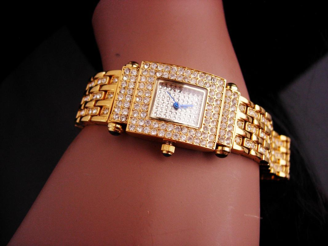Couture jeweled Bracelet watch - blue crystal - Adriene golden wristwatch - runs great - anniversary