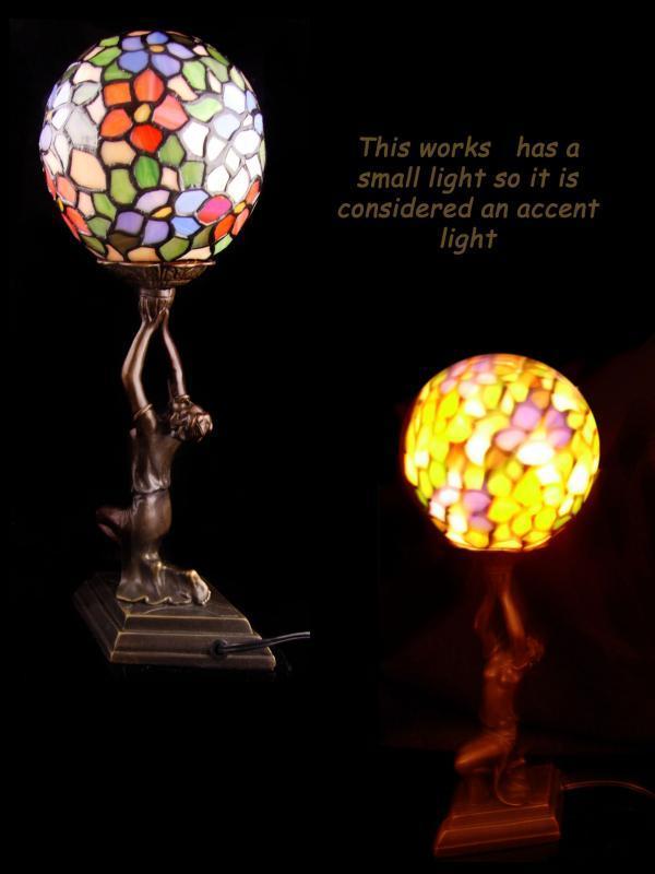 Art deco Lamp - nude statue - boudoir tiffany style globe light - art deco figurine - vintage anniversary gift - Accent tiffany style lamp