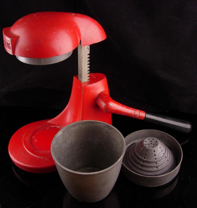 Vintage RED Juicer - Juice King - red metal citrus machine - lemon reamer - farmhouse decor