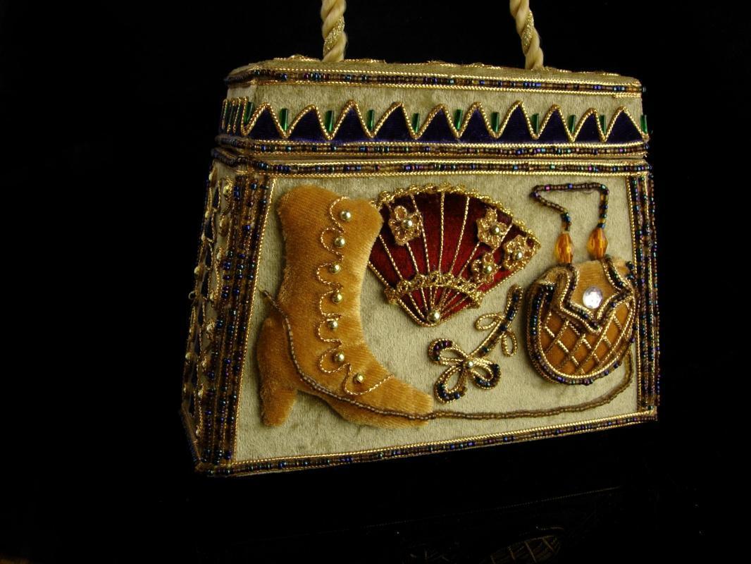 Unusual Victorian style handbag - vintage victorian boot and fan - whimsical Velvet box purse - handbag collector