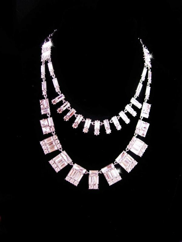Stunning BIG rhinestone signed Necklace - couture baguette jewelry - high quality statement jewelry - brilliant setting - wedding necklace