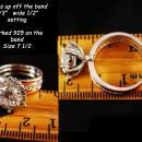 Solitaire Engagement Ring - HUGE Flashy CZ Diamond - rose gold plate -  Prong setting - Sparkling Wedding silver Size 7 1/2 - Anniversary
