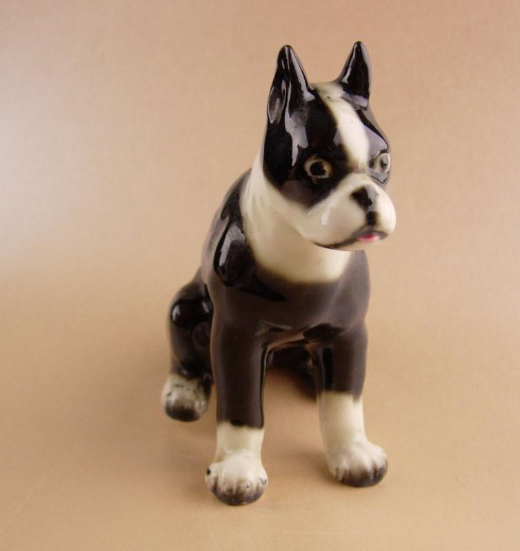 Vintage Boston bull terrier  figurine - Bulldog statue - vintage made in Japan Dog - black and white dog