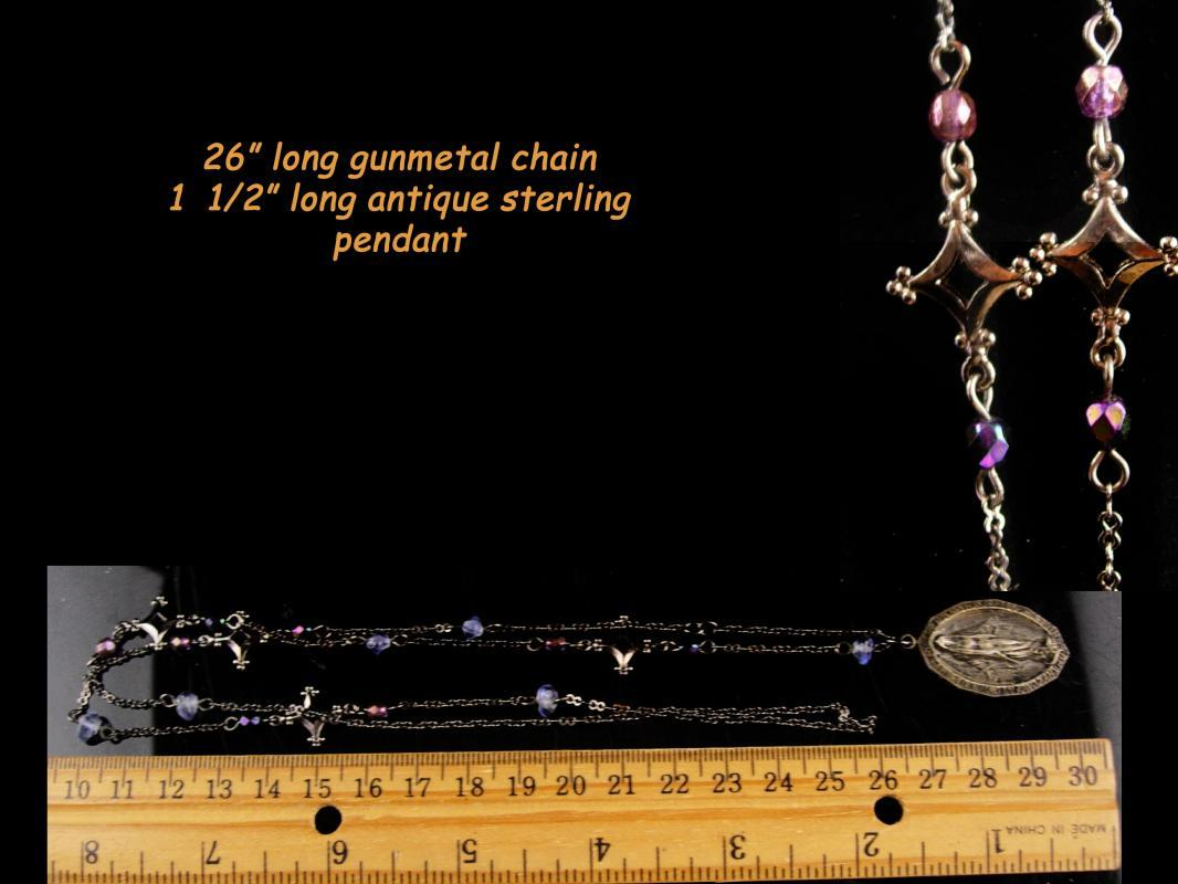 1920's sterling religious pendant - Vintage Religious rosary necklace - 1830 Miraculous medal - christian jewelry baptism
