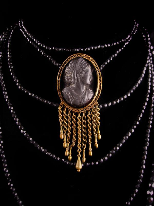 Antique Cameo tassel Brooch - Victorian Black glass 7 strand Choker - Victorian gothic Goddess necklace - black mourning jewelry