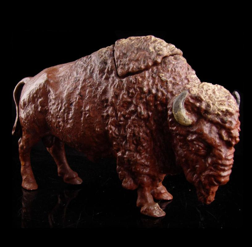 Antique Buffalo Ink Well - victorian sculpture - Vintage Bison all metal inkwell - Rare desc accessory Author Gift