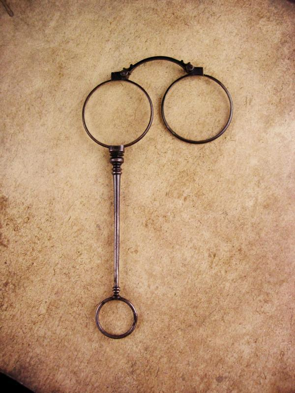 Antique Victorian Lorgnette Glasses - folding Spectacles with handle - eyeglass Fob Chatelaine