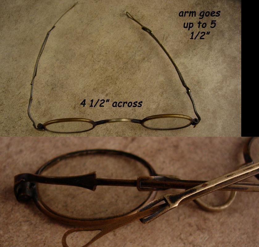 Civil War Era spectacles - Unusual retractable arms - antique Eye Glasses - Vintage folding adjustable eyewear - steampunk accessory