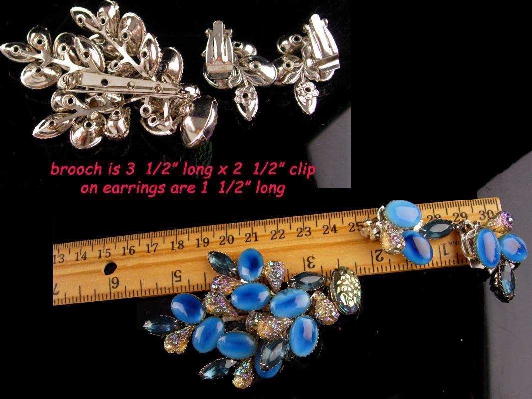 Vintage blue Rhinestone necklace Brooch earrings - iridescent sugar stones - faux moonstones - 1940s jewelry - something blue