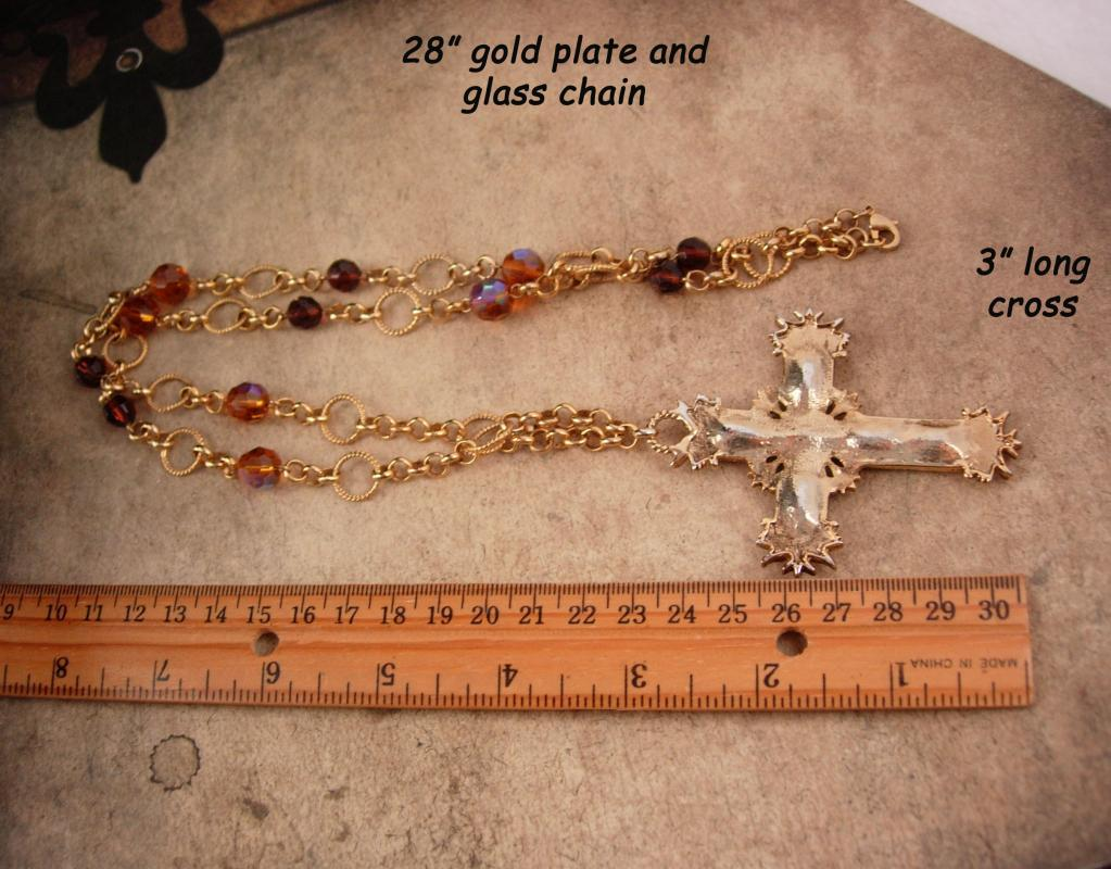 Vintage Gothic Cross necklace - Large faux golden topaz Cross - Medieval necklace - gypsy jewelry - boho statement necklace
